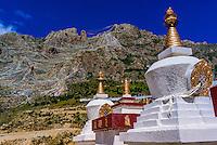 Stupas, Drak Yerpa Monastery, Dagze, Tibet (Xizang), China.