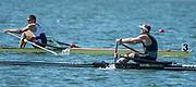 "Rio de Janeiro. BRAZIL.  Right, NZL M1X, Gold Medalist, Mahe DRYSDALE,  and  CZE M1X. Ondrej SYNEK Bronze Medalist 2016 Olympic Rowing Regatta. Lagoa Stadium,<br /> Copacabana,  ""Olympic Summer Games""<br /> Rodrigo de Freitas Lagoon, Lagoa.   Saturday  13/08/2016 <br /> <br /> [Mandatory Credit; Peter SPURRIER/Intersport Images]"