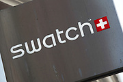 Sign for Swatch watches shop.
