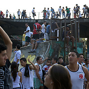 Vasco fans congregate outside the ground before the Fluminense FC V CR Vasco da Gama Futebol Brasileirao League match at the Maracana, Jornalista Mário Filho Stadium, Rio de Janeiro,  Brazil. 22nd August 2010. Photo Tim Clayton.