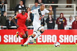 November 5, 2017 - Roeselare, BELGIUM - Tubize's Simon Zenke and Roeselare's Mael Lepicier fight for the ball during a soccer game between KSV Roeselare and AFC Tubize, in Roeselare, Sunday 05 November 2017, on day 14 of the division 1B Proximus League competition of the Belgian championship. BELGA PHOTO KURT DESPLENTER (Credit Image: © Kurt Desplenter/Belga via ZUMA Press)