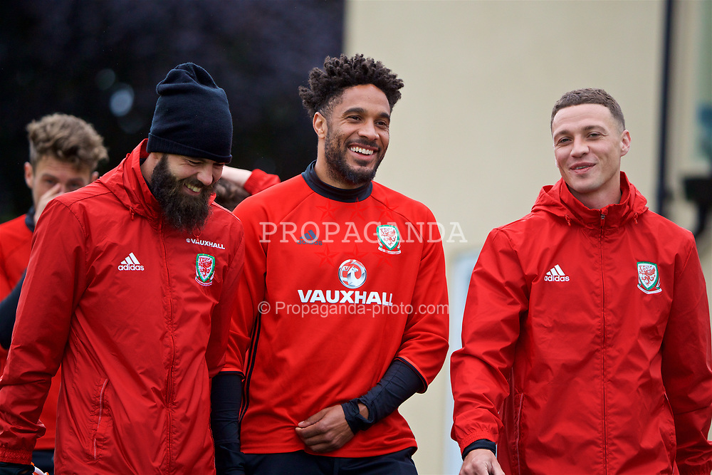 CARDIFF, WALES - Thursday, June 8, 2017: Wales' Joe Ledley, captain Ashley Williams and James Chester during a training session at the Vale Resort ahead of the 2018 FIFA World Cup Qualifying Group D match against Serbia. (Pic by David Rawcliffe/Propaganda)