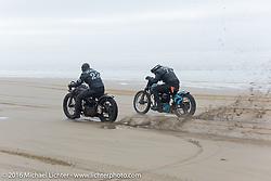 Matt Walksler on his 1924 Harley-Davidson JD Cutdown racing Josh Kohn on his 1937 Harley-Davidson 45 ci flathead at TROG West - The Race of Gentlemen. Pismo Beach, CA, USA. Saturday October 15, 2016. Photography ©2016 Michael Lichter.