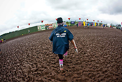 Heading back to the media area, Sunday at T in the Park 2012, held at Balado, in Fife, Scotland..