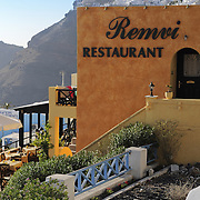 Seaside Remvi restaurant in Firostefani Santorini with the view to caldera