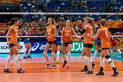 19-10-2018 JPN: Semi Final World Championship Volleyball Women day 20, Yokohama<br /> Serbia - Netherlands / Anne Buijs #11 of Netherlands, Nicole Koolhaas #22 of Netherlands, Lonneke Sloetjes #10 of Netherlands, Laura Dijkema #14 of Netherlands