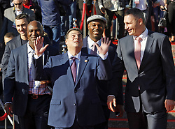 October 1, 2018 - Kiev, Ukraine - Ukrainian boxer VLADIMIR KLITSCHKO, former Boxing Champion EVANDER HOLYFIELD,President of the World Boxing Council (WBC) MAURICIO SULAIMAN,former Boxing Champion LENNOX LEWIS and former heavyweight boxing champion and current Mayor of Kiev VITALI KLITSCHKO (from L to R) arrive to the opening of the 56th World Boxing Convention in Kiev, Ukraine, on 1 October 2018.The WBC 56th congress in which take part boxing legends Evander Holyfield,Lennox Lewis, Eric Morales and about 700 participants from 160 countries runs in Kiev from from September 30 to October 5. (Credit Image: © Serg Glovny/ZUMA Wire)
