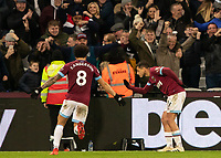 Football - 2018 / 2019 Premier League - West Ham United vs. Crystal Palace<br /> <br /> Javier Hernandez (West Ham United) takes a bow infront of the home supporters after scoring at the London Stadium<br /> <br /> COLORSPORT/DANIEL BEARHAM
