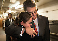 11 SEPT. 2015 -- ST. LOUIS -- Republican presidential candidate, former Texas Gov. Rick Perry embraces Madeline Martin, daughter of Eagle Forum president Ed Martin, before delivering remarks during the Eagle Council XLIV, sponsored by the Eagle Forum, at the Marriott St. Louis Airport in St. Louis Friday, Sept. 11, 2015. During his speech Perry announced that he is suspending his presidential campaign. Photo by Sid Hastings, © copyright 2015 The Associated Press.