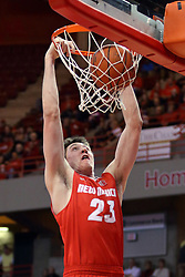 03 December 2016:  Joe Furstinger dunks during an NCAA  mens basketball game between the New Mexico Lobos the Illinois State Redbirds in a non-conference game at Redbird Arena, Normal IL