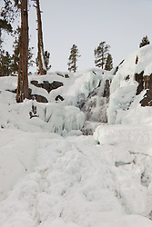 """""""Icy Eagle Falls 1"""" - Photograph of frozen Eagle Falls above Emerald Bay, Lake Tahoe in the winter."""