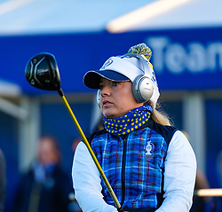 Solheim Cup 2019 at Centenary Course at Gleneagles in Scotland, UK. Bronte Law of Europe on Practice range on final day.