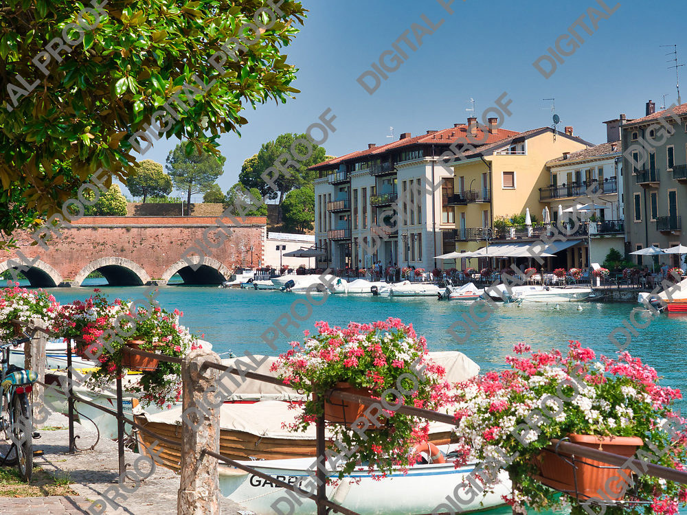 Motorboats anchored along the peschiera del garda canal in lake garda, italy during a summer afternoon with clear skies with local businesses in the background and flowers at foreground