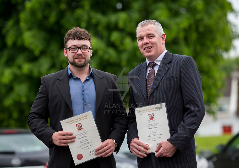 24.05.2018.       <br /> The Limerick Institute of Technology with Atlantic Air Adventures and funding from the Aviation Skillnet presented over forty certificates to Aviation professionals who have completed the Certificate in Aviation, The Aircraft Records Technician Level 7 and Part 21 Design, Level 7.<br /> <br /> Pictured at the event were, Part 21 cert recipients from TEG, Eamonn Brennan and Martin Dunning.<br /> <br /> LIT in partnership with Atlantic Air Adventures, CAE Parc Aviation, Part 21 Design and industry experts such as Anton Tams, GECAS, Don Salmon, CAE Parc Aviation and Mick Malone, Part 21 Design have developed and deliver these key training programmes with funding for aviation companies provided by The Aviation Skillnet.<br /> <br /> . Picture: Alan Place