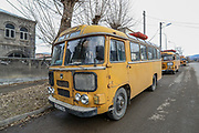 An old Soviet passenger Bus is seen parked at the entry of Vanadzor city on Sunday, Jan 16, 2021. Vanadzor is the third-largest city in Armenia, serving as the capital of Lori Province in the northern part of the country. It is located about 128 kilometres north of the capital Yerevan. (Photo/ Vudi Xhymshiti)