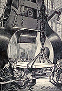 """A monster hammer from The Begum's Fortune (French: Les Cinq cents millions de la Bégum, literally """"the 500 millions of the begum""""), also published as The Begum's Millions, is an 1879 novel by Jules Verne, with some utopian elements and other elements that seem clearly dystopian. It is noteworthy as the first published book in which Verne was cautionary, and somewhat pessimistic about the development of science and technology.. Translated by W.H.G. Kingston in 1860 Published in Philadelphia by J. B. Lippincott and Co."""