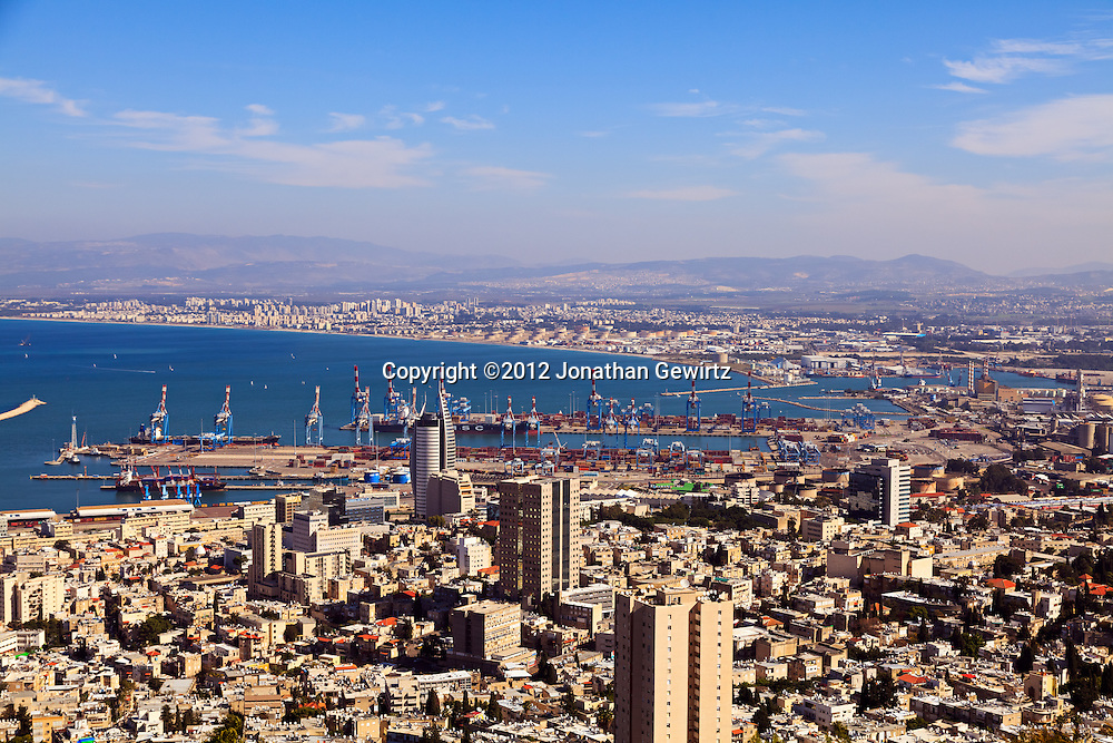 Downtown Haifa, the port of Haifa, and northern suburbs as seen from the slopes of Mount Carmel. WATERMARKS WILL NOT APPEAR ON PRINTS OR LICENSED IMAGES.