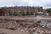 Construction site where redevelopment is taking place in the city centre on 15th July 2020 in Birmingham, United Kingdom. The city is under a long term and major redevelopment, with much of its industrial past being demolished and made into new flats for residential homes, as part of the Big City Plan.