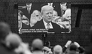 Washington D.C. January 20, 2017 Teleprompter at National Mall during the inauguration of Donald Trump as the 45th President of the United States.