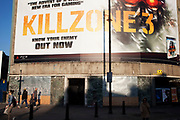Giant poster for Kill Zone 3 computer game, Old Street, Shoreditch, London. This corner, where once stood the famous Foundry bar, is a site used for huge scale billboard advertising hoardings.