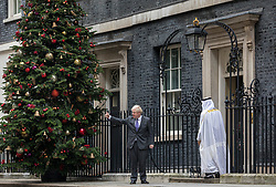 © Licensed to London News Pictures. 10/12/2020. London, UK. Prime Minister Boris Johnson leaves 10 Downing Street to greet Crown Prince of the Emirate of Abu Dhabi Sheikh Muhammad bin Zayed Al Nahyan. Prime Minister Boris Johnson and President of the European Commission Ursula von der Leyen have agreed to a further 72 hours of talks in a final effort to reach a Brexit trade and security agreement. Photo credit: Rob Pinney/LNP
