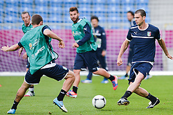 12.06.2012, Staedtisches Stadion, Posen, POL, UEFA EURO 2012, Italien, Training, im Bild  LEONARDO BONUCCI during the during EURO 2012 Trainingssession of Italy national team, at the SMunicipal Stadium in Poznan, Poland on 2012/06/13