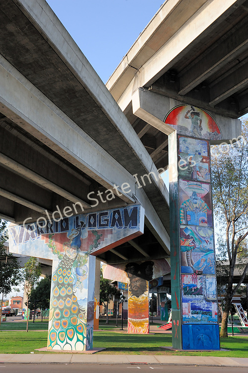 Chicano Park is located in Barrio Logan under the I5 freeway approach ramps to the San Diego Coronado Bridge. Large mural paintings have transformed the support pillars into works of art.