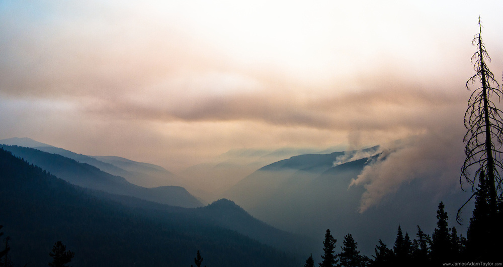 A view of the Klone Peak fire from the Duncan road. This fire threatens the Mad River  Motorized Trail system, SIlver Falls Campground, Private Cabins, and has potential to spread and threaten many other areas.  In conjunction with the Pyramid Fire  the Glacier Peak Wilderness in the Entiat District has been shut down due to the strong potential for the only road access to be engulfed in flames.