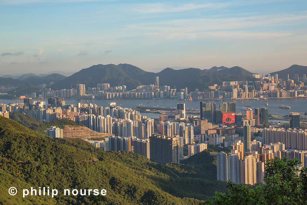 Looking southwest over Kowloon Bay from Kowloon Peak (Fei Ngo Shan) with North Point and Quarry Bay in the distance