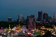 Columbus skyline with Ohio State Fair in the foreground.