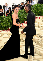 Kylie Jenner and Travis Scott attending the Metropolitan Museum of Art Costume Institute Benefit Gala 2018 in New York, USA. PRESS ASSOCIATION Photo. Picture date: Picture date: Monday May 7, 2018. See PA story SHOWBIZ MET Gala. Photo credit should read: Ian West/PA Wire