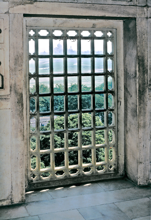 Taj Mahal seen from the prison room in the Agra Fort, where Shah Jehan was incarcerated by his son.