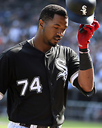 CHICAGO - JUNE 29:  Eloy Jimenez #74 of the Chicago White Sox looks on against the Minnesota Twins on June 29, 2019 at Guaranteed Rate Field in Chicago, Illinois.  (Photo by Ron Vesely)  Subject:  Eloy Jimenez