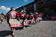 """Feast of Corpus Christi. University students dancing a traditional dance """"tupay"""" from Canas area, in the Plaza Mayor"""