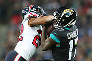 Houston Texan's cornerback, Gareon Conley (22) and Jacksonville Jaguars wide receiver, D.J. Chark (17) during the NFL game between Houston Texans and Jacksonville Jaguars at Wembley Stadium in London, United Kingdom. 03 November 2019