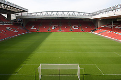 The view of the Anfield pitch from the Anfield Road Upper Stand.