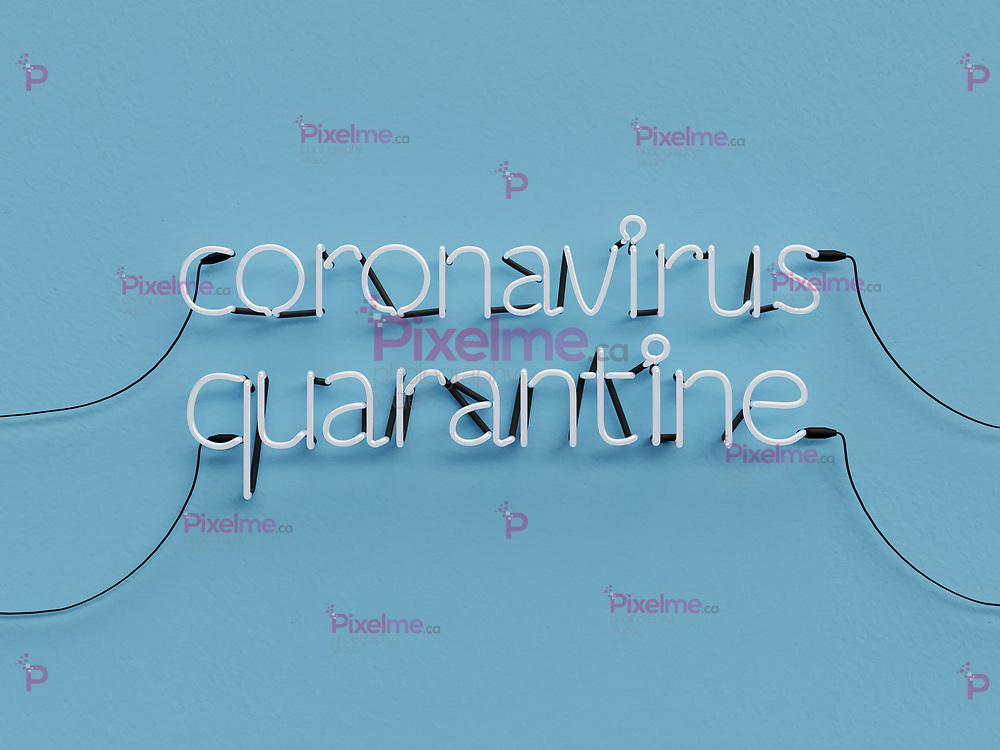 Coronavirus Quarantine neon graphic sign with blue background mode off with white neon color - 3d rendering concept
