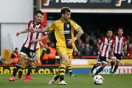 Fernando Amorebieta of Fulham creating a back pass. Skybet football league championship match, Brentford  v Fulham at Griffin Park in London on Saturday 30th April 2016.<br /> pic by Steffan Bowen, Andrew Orchard sports photography.