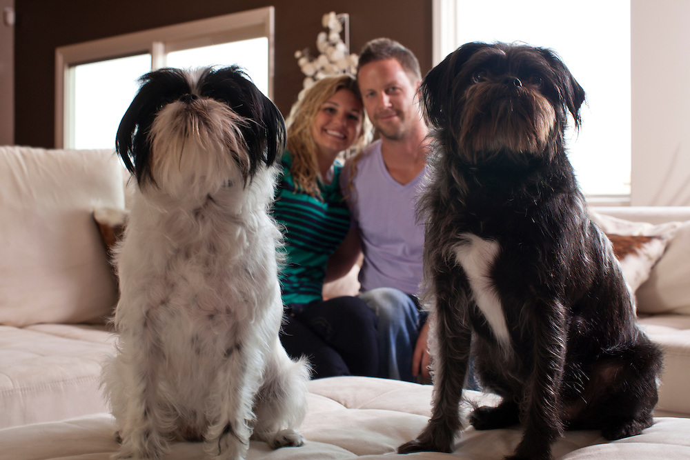 05 August 2011-Dr Mark & Christina Braash with their dogs, Murphy and Emma, photographed for Omaha Magazine.