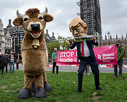 © Licensed to London News Pictures. 24/10/2020. London, UK. A protester dressed as Donald Trump injects another protester dressed as a cow with a mock hormone syringe in Parliament Square during a demonstration against the possible erosion of food standards in a possible trade deal between the USA and the UK. The US Election between Donald Trump and Joe Biden will take place on Tuesday 3 November 2020. Photo credit: Rob Pinney/LNP