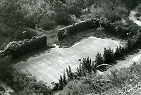 """1973 Abandoned tennis court at Huntington Hartford's """"The Pines"""" in Runyon Canyon."""