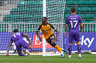 GOAL 1-0 Newport County's Saikou Janneh (20) celebrates scoring his side's first goal during the EFL Sky Bet League 2 match between Newport County and Tranmere Rovers at Rodney Parade, Newport, Wales on 17 October 2020.