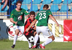 Nezbedin Selimi (11) of Primorje between Miha Golob (16) of Rudar and Boris Mijatovic (23) of Rudar at 6th Round of PrvaLiga Telekom Slovenije between NK Primorje Ajdovscina vs NK Rudar Velenje, on August 24, 2008, in Town stadium in Ajdovscina. Primorje won the match 3:1. (Photo by Vid Ponikvar / Sportal Images)