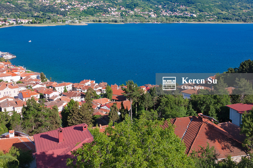 View of houses by Lake Ohrid from Tsar Samuel's Fortress, Ohrid, Republic of Macedonia