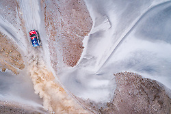 Jakub Przygonski and Tom Colsoul in the Mini of the Orlen X-Raid Team navigating in the sand during stage 4 of the Dakar Rally, between Arequipa and Tacna, Peru, on January 10, 2019.