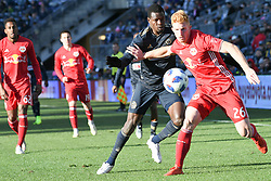 October 21, 2018 - Chester, Pennsylvania, U.S - Philadelphia Union defender CORY BURKE(19)  in action against the New York Red Bulls TIM PARKER (26) at Talen Energy Field in Chester PA (Credit Image: © Ricky Fitchett/ZUMA Wire)
