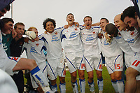 Photo: Leigh Quinnell.<br /> Mansfield Town v Carlisle United. Coca Cola League 2. 22/04/2006. Carlise players celebrate promotion to league 1.