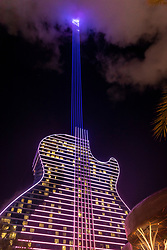 The Hard Rock had to get permission from the FAA to project the beam of lights that emulate the guitar strings.