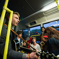 Musicians played to passengers on the free Light Night bus.