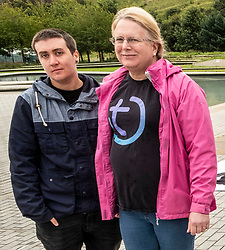 Pictured: Vic Valentine and Becky Kaufmann<br /><br />Vic Valentine and Becky Kaufmann from Scottish Trans Alliance were outside the Scottish Parliament from Tuesday to Thursday to highlight what they describe as a major threat to trans people's rights. The focus of the protest is on attempts to change the basis of the next census in. 2021<br /><br />Ger Harley | EEm Date
